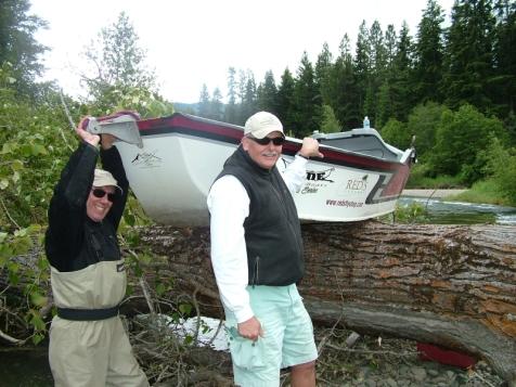 Boat over log