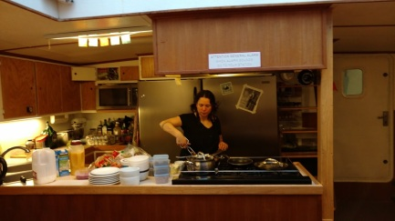 Nicole at Work in HER Galley