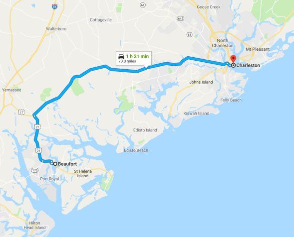 Charleston to Beaufort